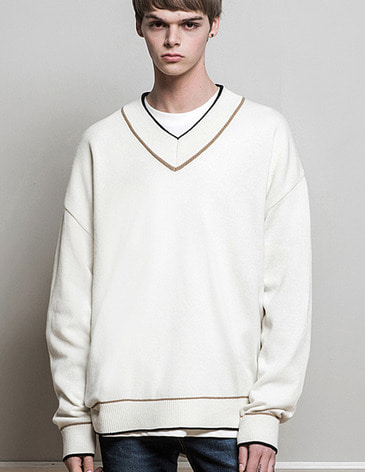 DOUBLE COLOR V-NECK KNIT [IVORY]