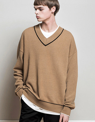 DOUBLE COLOR V-NECK KNIT [BEIGE]