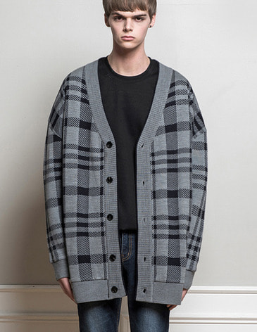 OVERSIZED CHECK CARDIGAN [NAVY]