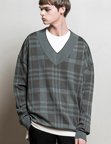 OVERSIZED CHECK V-NECK KNIT [MINT GREY]