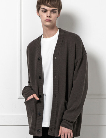 ESSENTIAL CARDIGAN [ASH BROWN]