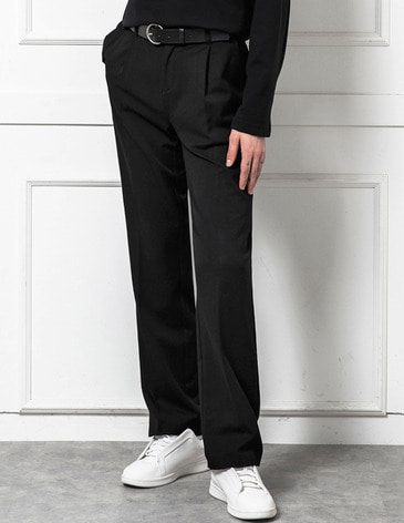 EASY BANDING WIDE SLACKS [BLACK]