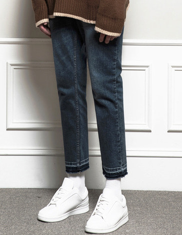 [RE-EDITION]WASHED CUTTING CROP JEAN [MID BLUE]