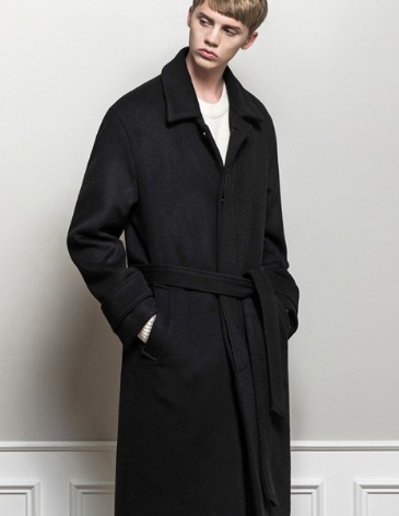 CASHMERE ROBE MAC COAT [BLACK]