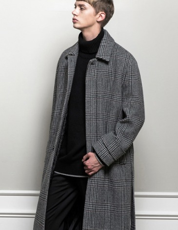 CHECK ROBE MAC COAT [GREY CHECK]