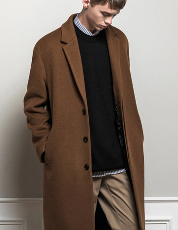 CASHMERE HIDDEN SINGLE COAT  [DEEP CAMEL]