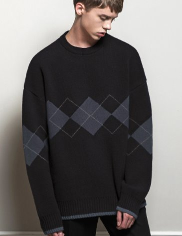 ARGYLE CHECK OVERFIT ROUND KNIT [BLACK]