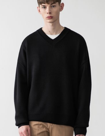 PREMIER EDITION WOOL CASH V-NECK KNIT [BLACK]