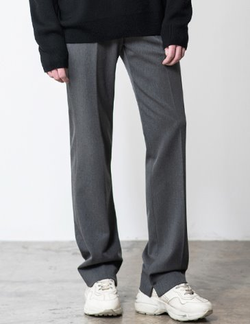 CONTEMPORARY WIDE SLIT SLACKS [GREY]