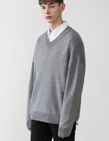 PREMIER EDITION WOOL CASH V-NECK KNIT [M.GREY]