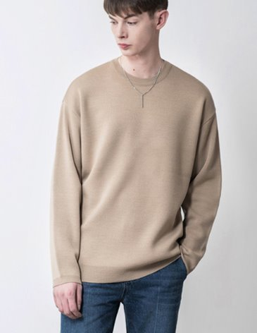 PREMIER EDITION WOOL CASH ROUND KNIT [L.BEIGE]