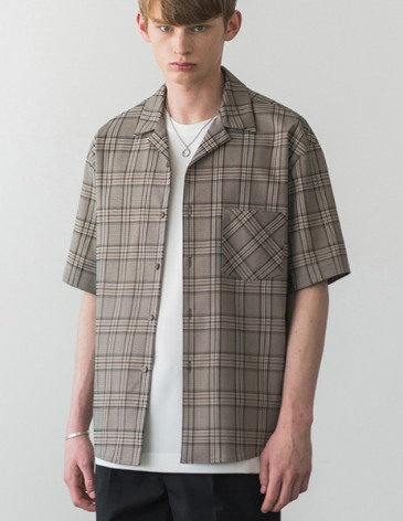 BREEZE CHECK OPEN COLLAR SHIRT [BEIGE]