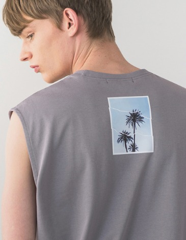 OCEAN TREE LAYERED SLEEVELESS [GREY]