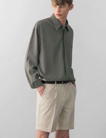 LINEN TEXTURED POCKET SHIRT [KHAKI GREY]