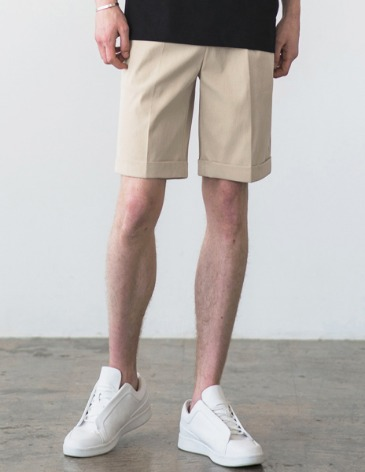 [RE-EDITION] TURNUP BANDING HALF PANTS [CREAM]