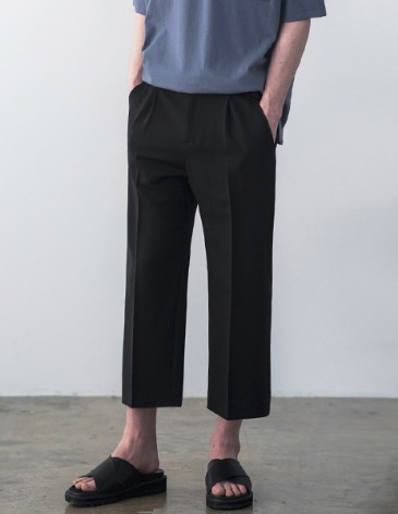 CONTEMPORARY WIDE CROP PANTS [BLACK]