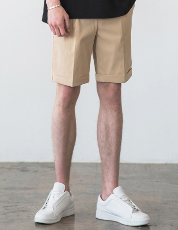 [RE-EDITION] TURNUP BANDING HALF PANTS [BEIGE]