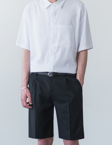 SEMI WIDE HALF SLACKS [BLACK]