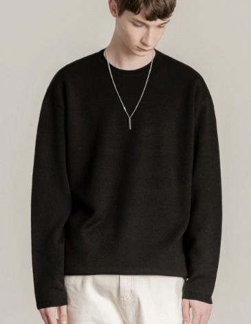 PREMIER EDITION WOOL CASH ROUND KNIT [BLACK]