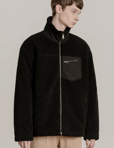 SHEARLING BOA FLEECE ZIP-UP JACKET [BLACK]