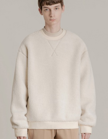SHEARLING BOA SWEAT-SHIRT [CREAM]