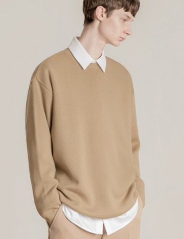 PREMIER EDITION WOOL CASH ROUND KNIT [BEIGE]