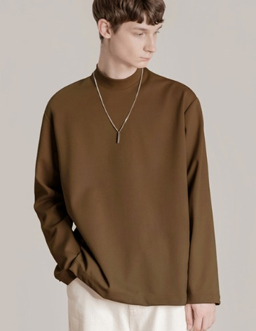 BREED MOCK-NECK LONG SLEEVE T-SHIRTS [CAMEL]