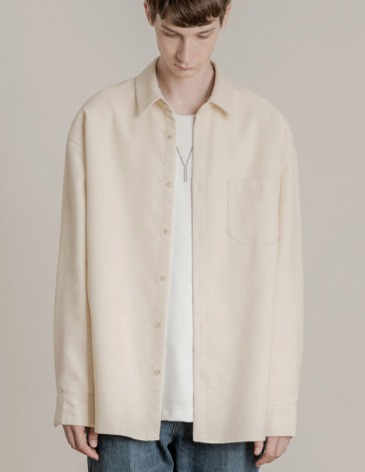 CORDUROY OVER-FIT POCKET SHIRT [CREAM]