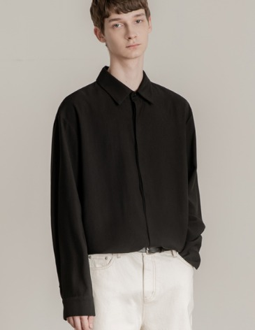 HIDDEN LOOSE-FIT TENCEL SHIRTS [BLACK]