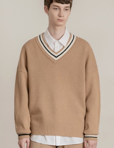 [RE-EDITION] LAMBSWOOL OVERFIT V-NECK KNIT [BEIGE]