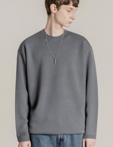 PREMIER EDITION WOOL CASH ROUND KNIT [GREYISH BLUE]