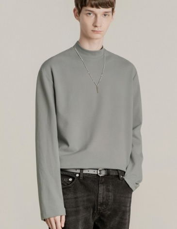 BREED MOCK-NECK LONG SLEEVE T-SHIRTS [GREY]