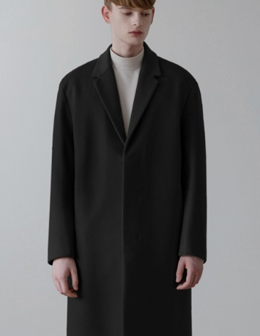 CASHMERE HIDDEN SINGLE COAT [BLACK]