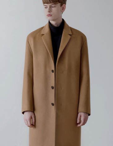 CASHMERE HIDDEN SINGLE COAT [CAMEL]