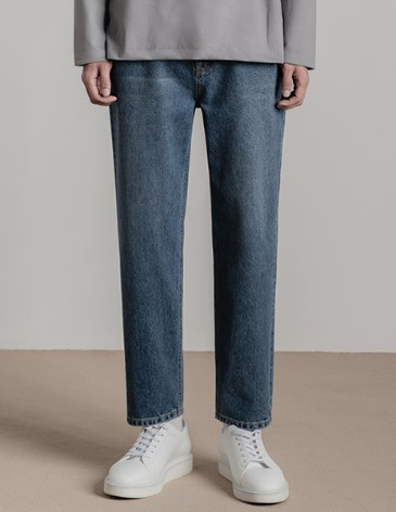 NEW-STRAIGHT DENIM PANTS [MIDDLE BLUE]