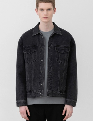 GARMENT WASHED HIDDEN DENIM JACKET [BLACK]