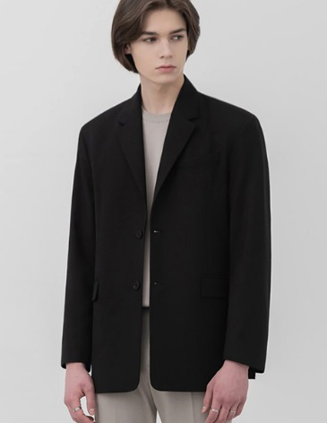 OVERSIZED WOOL  BLAZER [BLACK]
