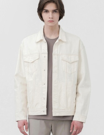 GARMENT WASHED HIDDEN DENIM JACKET [CREAM]