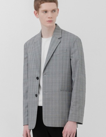 OVERSIZED MINIMAL CHECK BLAZER [GREY]