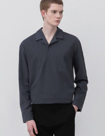 OPEN COLLAR LONG SLEEVE T-SHIRTS [CHARCOAL]
