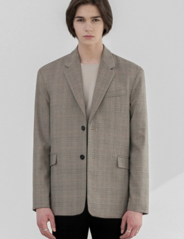 SHADE CHECK OVERSIZED BLAZER [DUSTY BEIGE]