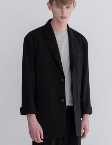 COOL LINEN OVERSIZED SET UP BLAZER [BLACK]