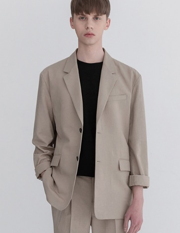 COOL LINEN OVERSIZED SET UP BLAZER [OATMEAL]