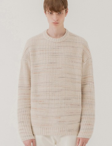 TEXTURED MIX OVER ROUND KNIT [CREAM]