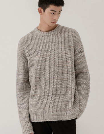 TEXTURED MIX OVER ROUND KNIT [GREY]