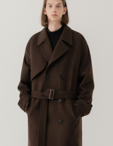 WINTER MONO WOOL DOUBLE ROBE TRENCH COAT [DARK BROWN]
