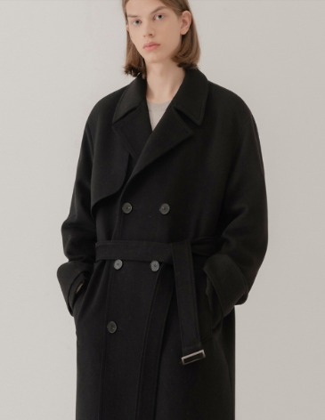 WINTER MONO WOOL DOUBLE ROBE TRENCH COAT [BLACK]