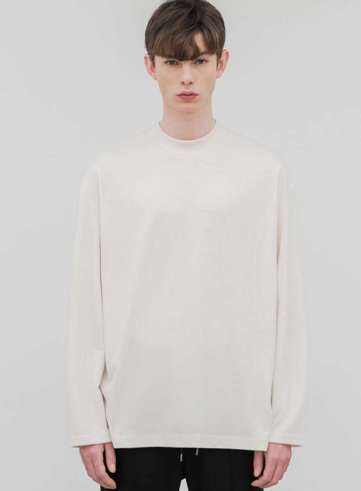HALF MOCK-NECK KNIT T-SHIRTS [CREAM]