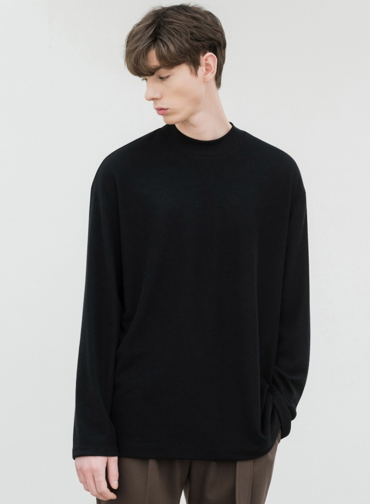 HALF MOCK-NECK KNIT T-SHIRTS [BLACK]