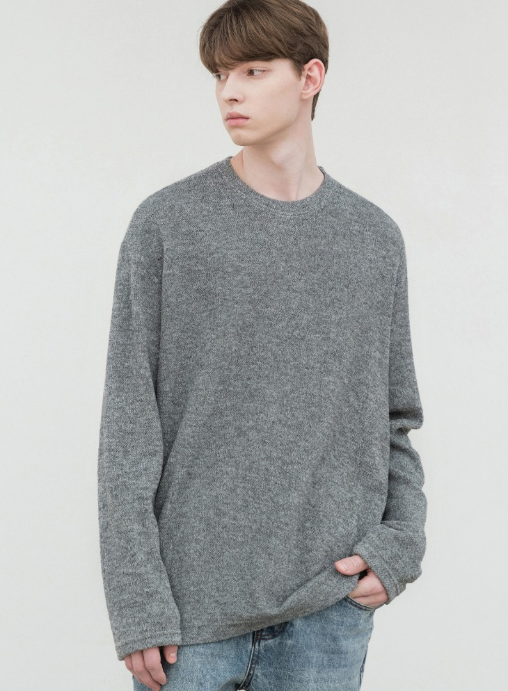 WANTS LOOSE-FIT KNIT T-SHIRTS [GREY]
